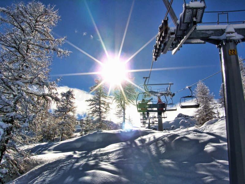 On the ski lift royalty free stock photos