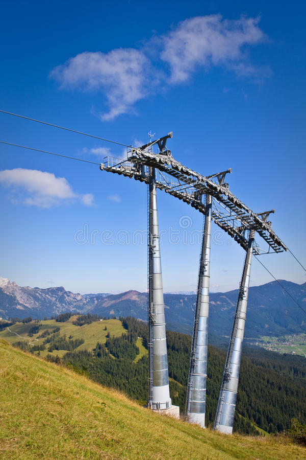 Ski lift. Tower under high mountains, Gosau Austria royalty free stock photos