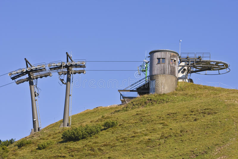 Ski lift. Under high mountains, Gosau Austria stock photo