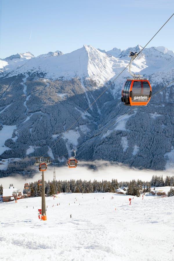 Ski lift in Austrian Alps. Ski amade region, Salzburgerland royalty free stock photos