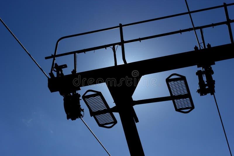 Ski Lift In Back Light fotos de stock royalty free
