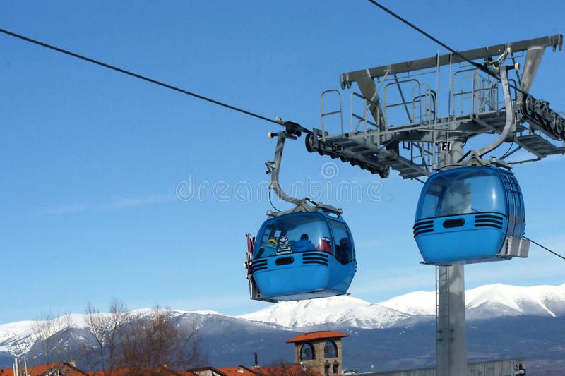 Ski lift, cabin. Snow winter mountain resort royalty free stock images