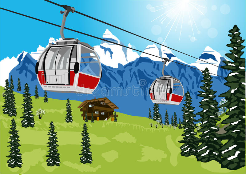 Ski lift cable booth or car. Illustration of wonderful summer scenery with ski lift cable booth or car and chalet stock illustration