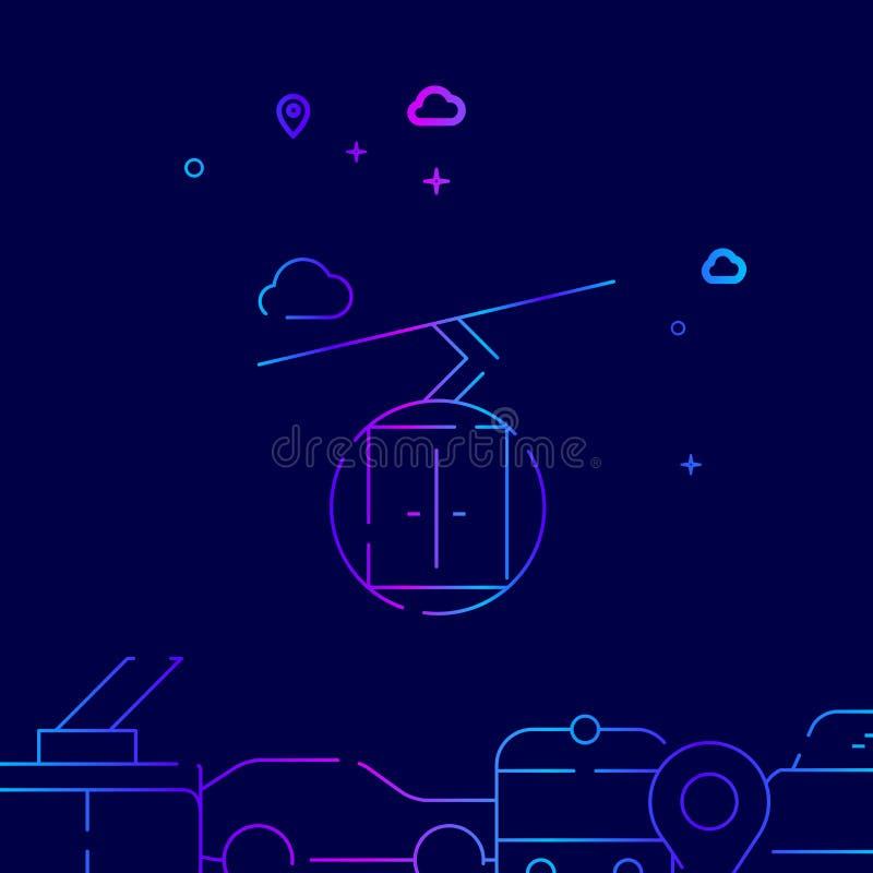Ski Lift Cablewayvektorlinje symbol, illustration p? ett m?rkt - bl? bakgrund Sl?kt nedersta gr?ns stock illustrationer