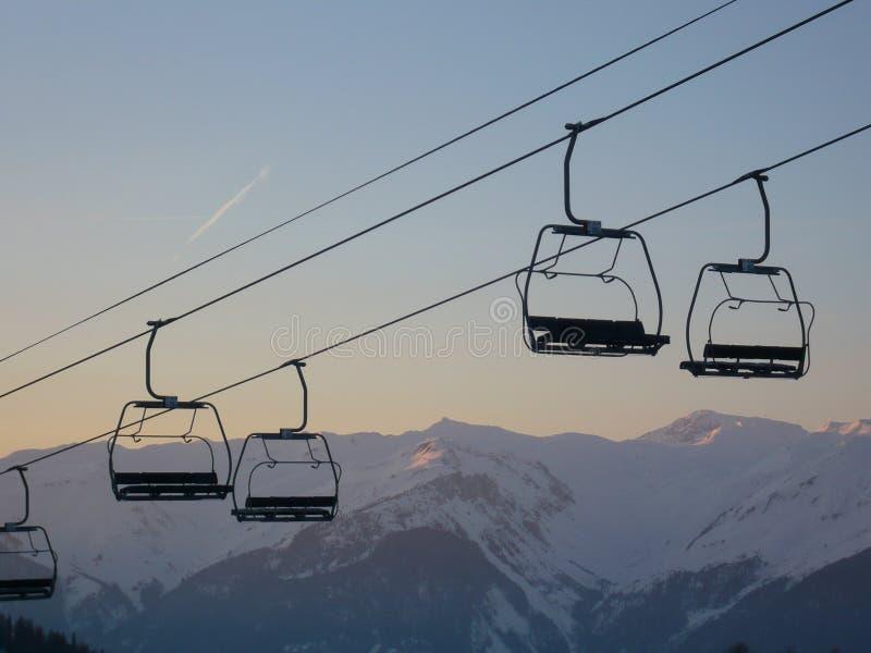 Ski-lift chairs stock image