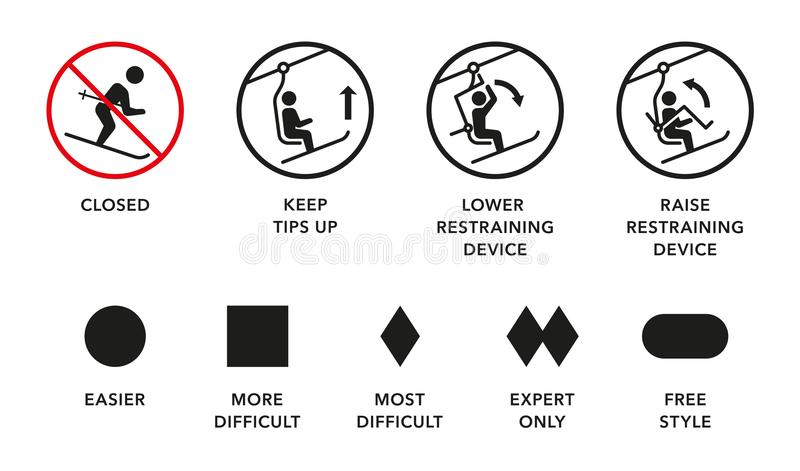 Ski lift manuals, trail difficulty levels signs. Ski lift, elevator manuals, trail difficulty levels signs vector illustration