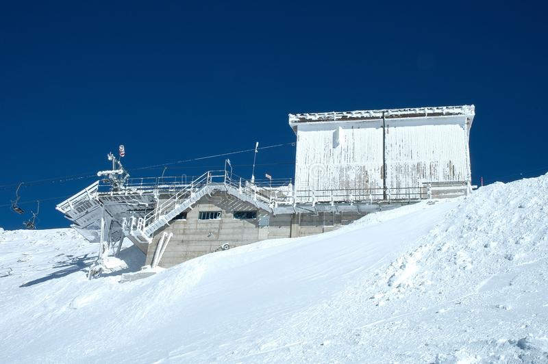 Ski lift end station. On Hintertux glacier nearby Zillertal valley in Austria stock photos