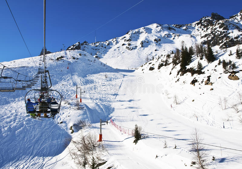 Download Ski Lift in French Alps stock photo. Image of christmas - 26926280