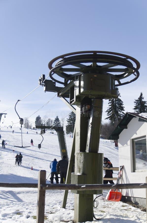 Ski lift installation stock image