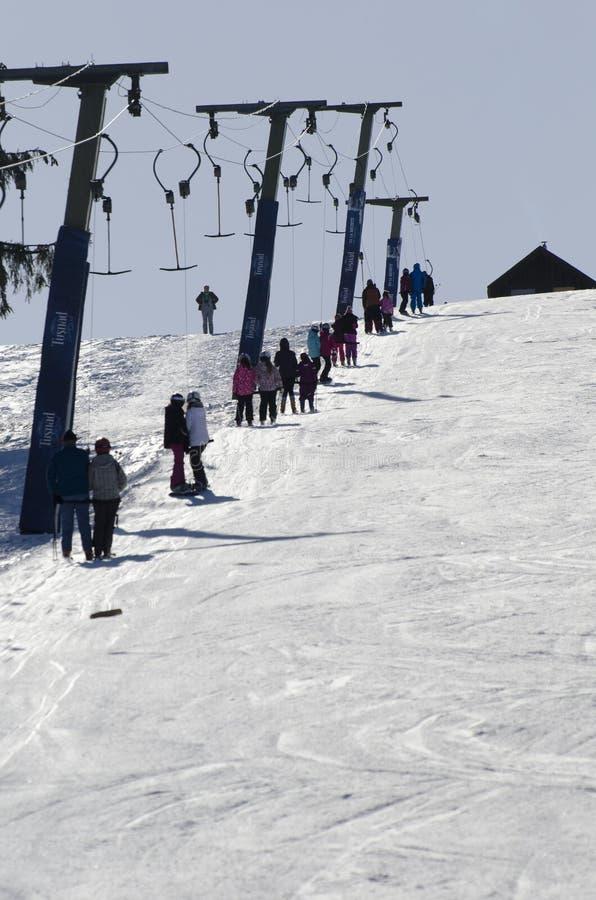 Ski lift installation stock images