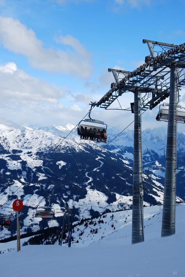 Ski lift resort austria. Ski lift in mayrnhofer austria stock photos