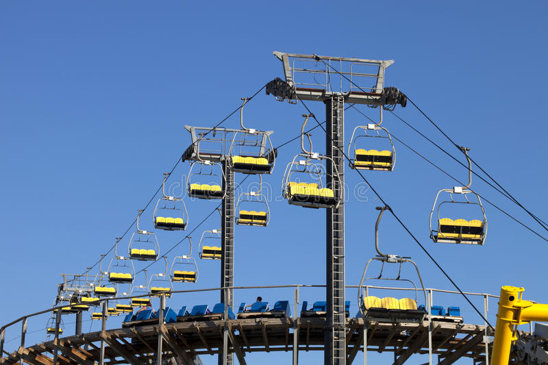 Ski-lift and Rollercoaster royalty free stock photography