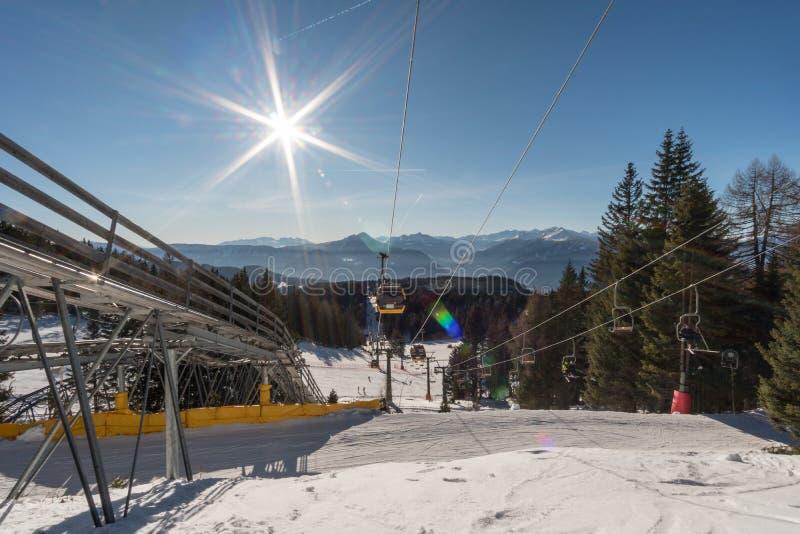 Ski lift. On Meran 2000 in South Tyrol, Italy stock photo