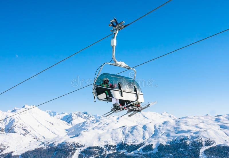 Ski lift. Ski resort Livigno. Italy royalty free stock photography