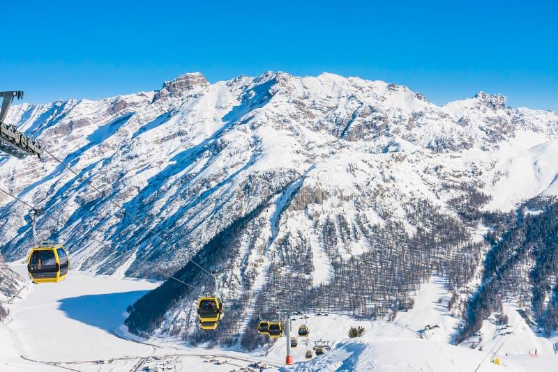 Ski lift. Ski resort Livigno. Italy stock photos