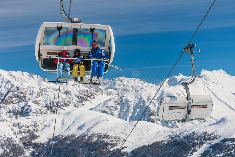 Ski lift. Ski resort Livigno. Italy stock photo