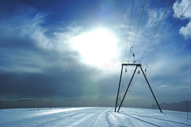 Ski-lift slope royalty free stock photos