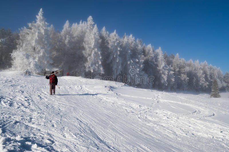 Without a ski lift royalty free stock photo