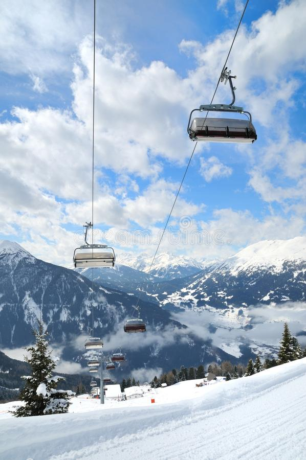 Ski Lift In Winter Mountain Stock Images