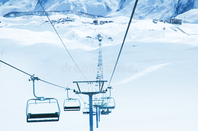 Ski lifts on the bright winter day stock images