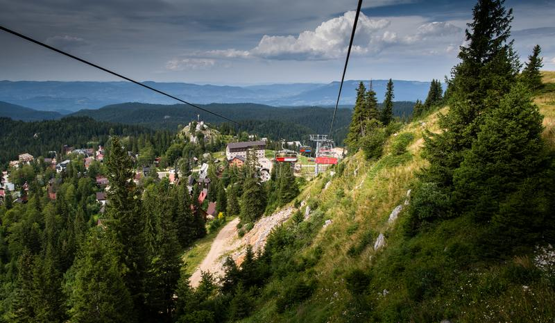 Ski lifts climb the hill stock images