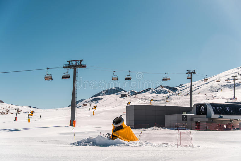 Ski lifts durings bright winter day. The ski lifts durings bright winter day royalty free stock images