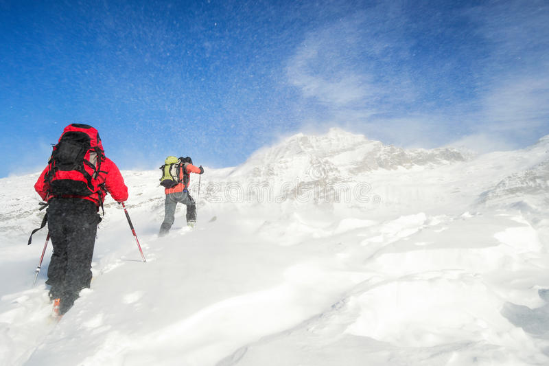 Ski mountaineering in snowstorm stock photo