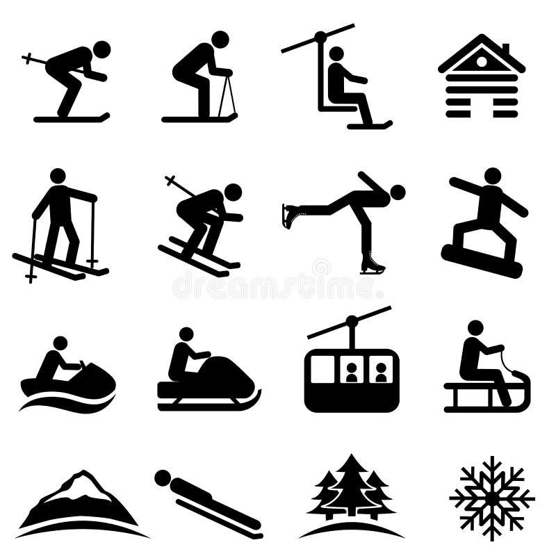 Ski, neige et icônes d'hiver illustration de vecteur