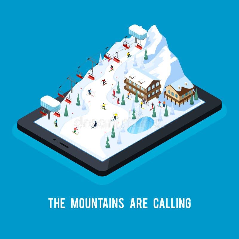 Ski Online Resort Concept illustrazione di stock