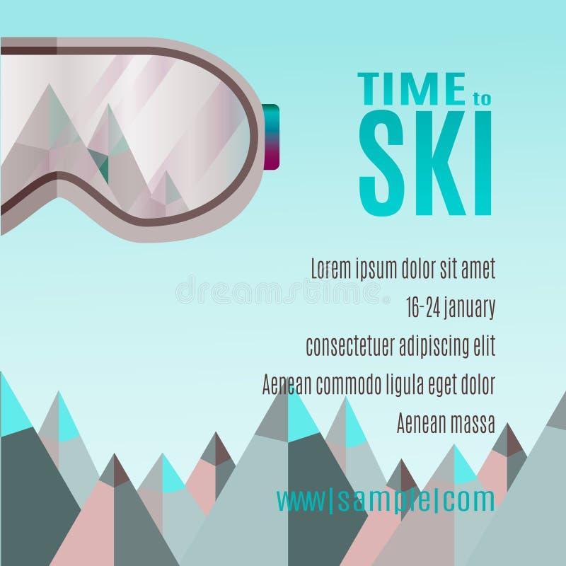 Ski Party Poster Template con el soporte y los sunglass ilustración del vector