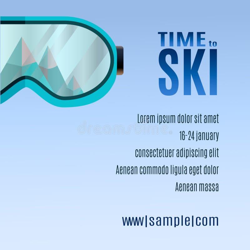 Ski Party Poster Template mit Berg und sunglass lizenzfreie abbildung