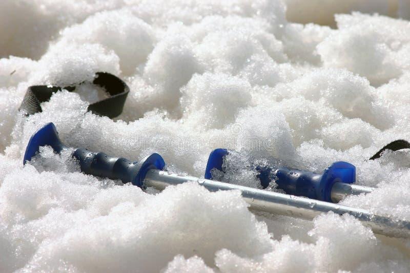 Ski Polen im Schnee lizenzfreies stockbild