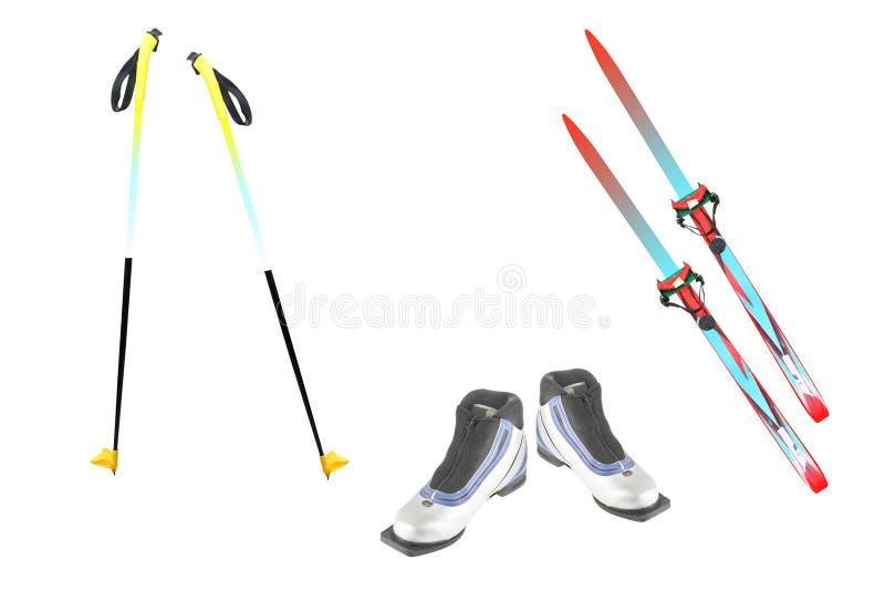 Ski poles, ski and ski boots stock photo