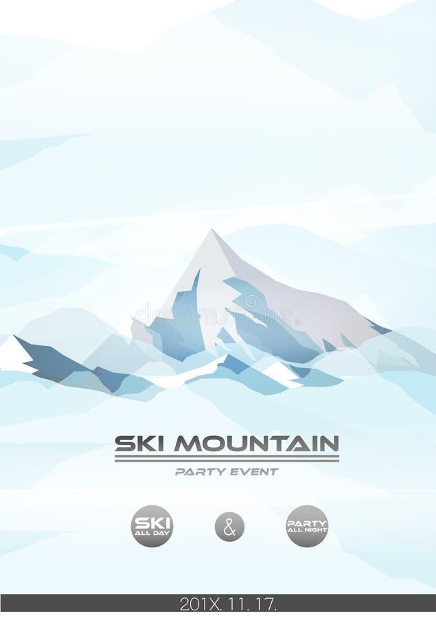 Ski Poster alpin avec le fond de montagne d'hiver - vecteur Illus illustration de vecteur