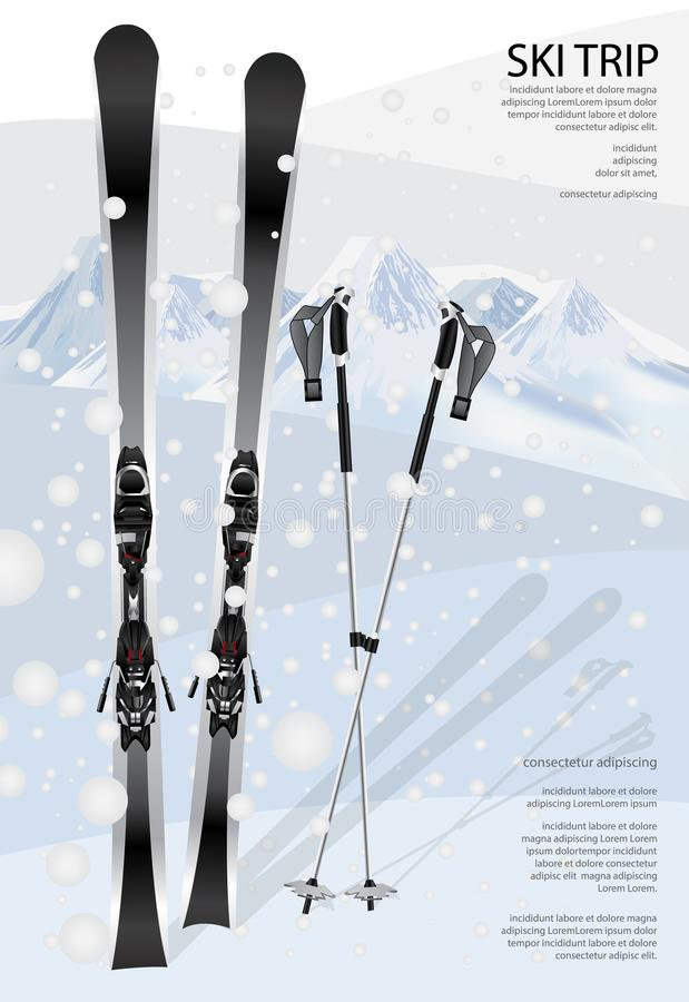 Ski Poster Template ilustração do vetor