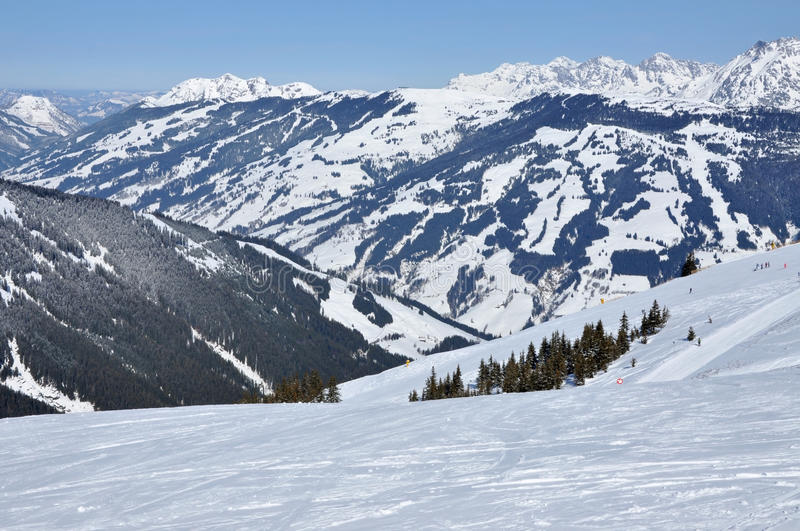 Ski resort in the Alps. Zell am See, Austria stock photography