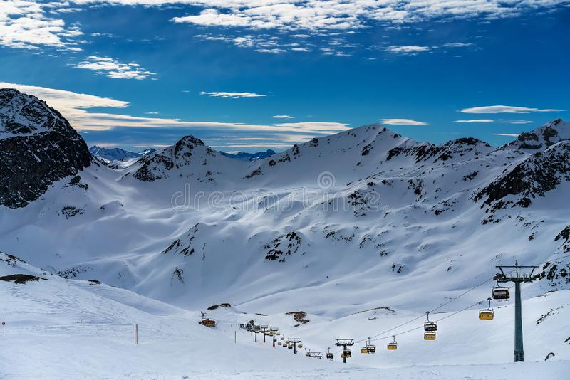 Ski resort in the city of St. Moritz. View of the mountain peaks royalty free stock photo