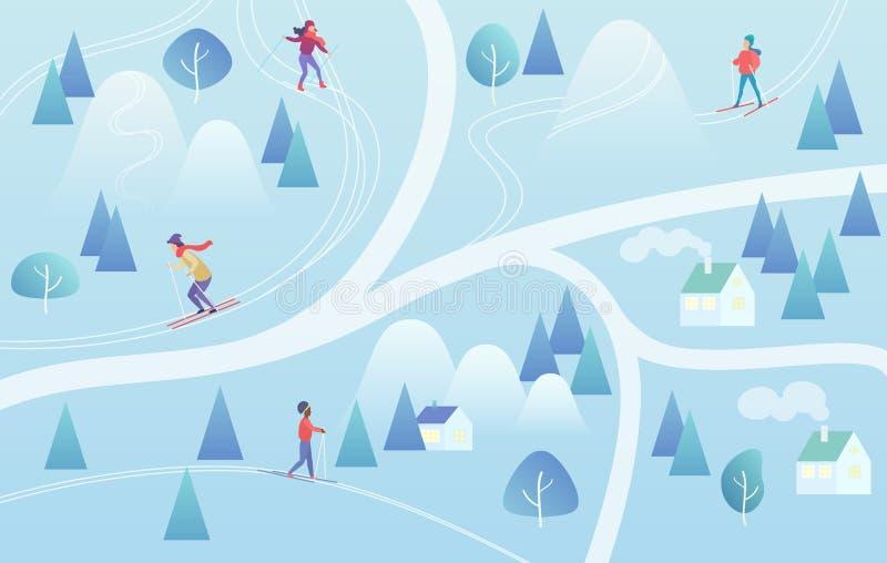 Ski Resort com esquiadores Recurso do inverno do fundo do estilo do mapa do esqui da montanha com povos Vetor da cor do inclinaçã ilustração do vetor