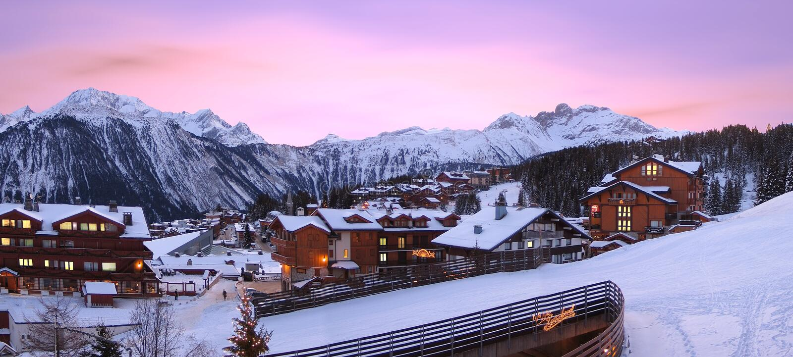 Ski resort, of Courchevel in France, stock photo