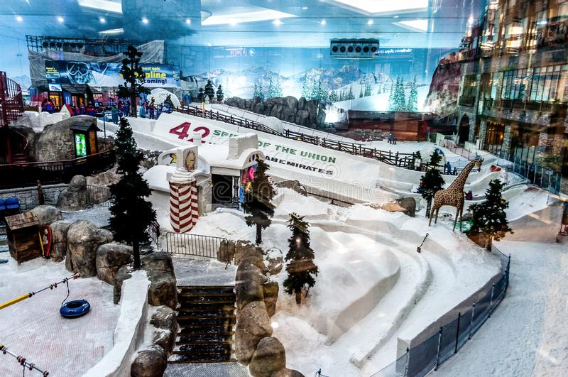The ski resort Ski Dubai – Mall of the Emirates ,United Arab Emirates. For skiing and snowboarding, there are 1.5 km of slopes available. 3 lifts transport stock image