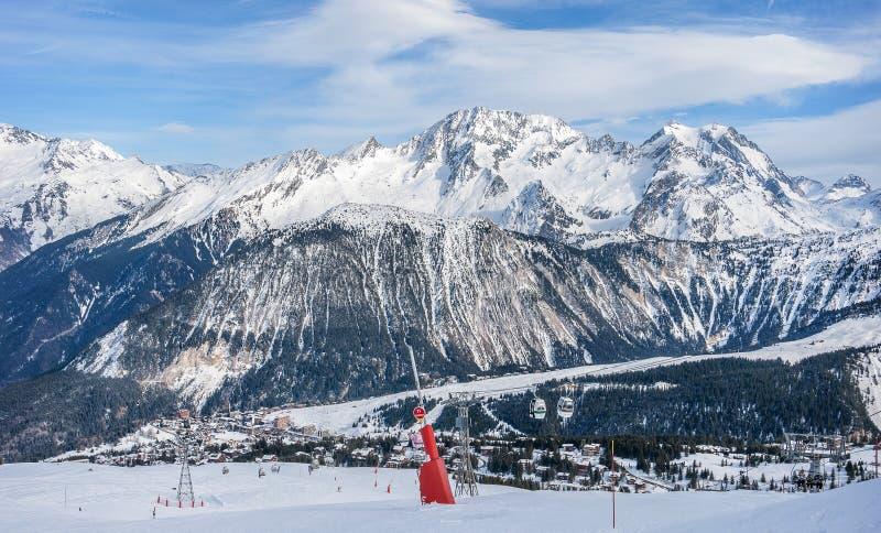 Ski Resort em Courchevel 1850, França fotos de stock