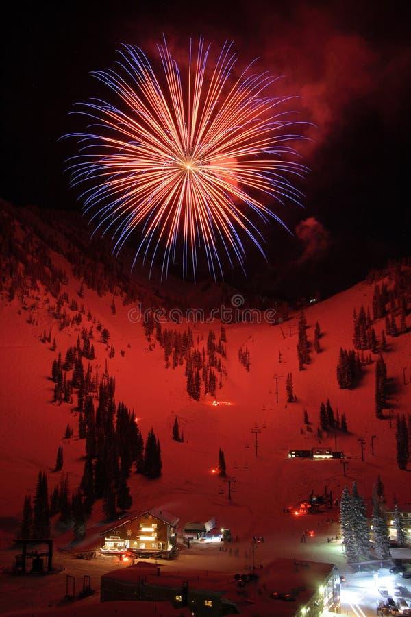 Ski Resort Fireworks royalty free stock image