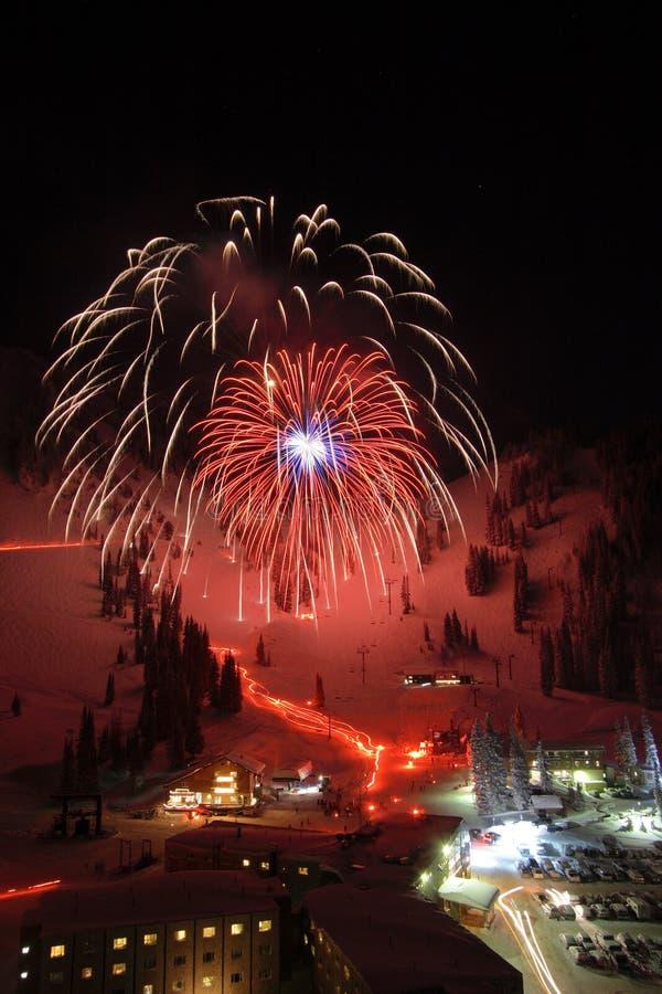 Ski Resort Fireworks stock photo