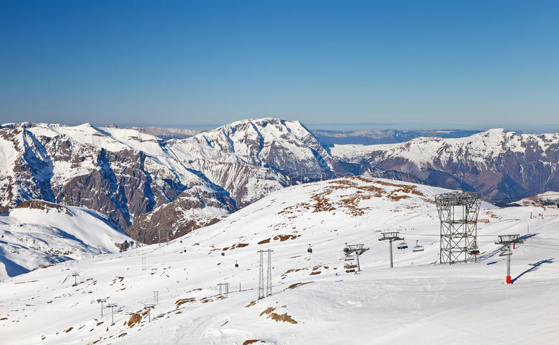 Download Ski resort in French Alps stock photo. Image of muzelle - 35858354