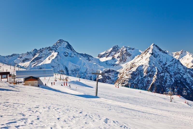 Ski Resort In French Alps Royalty Free Stock Photos