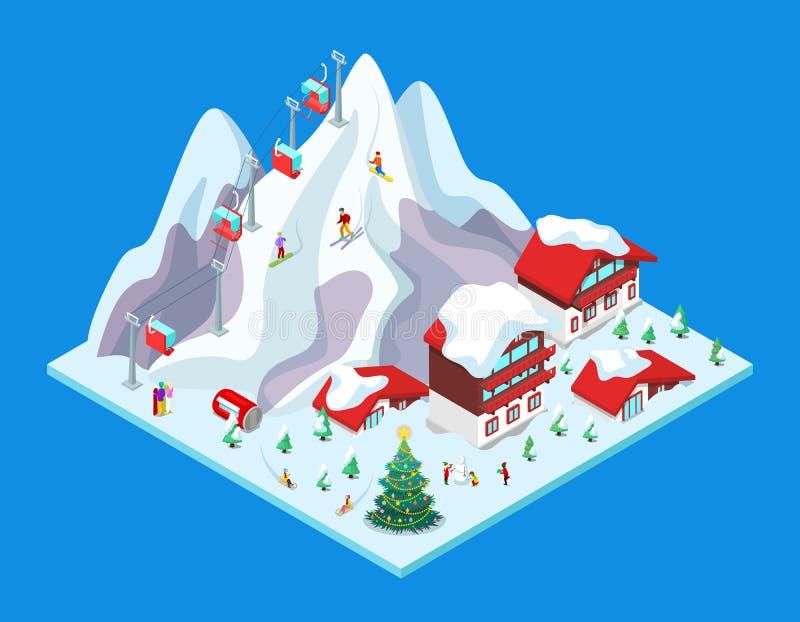 Ski Resort isométrico com construções do hotel, as montanhas nevado e o elevador ilustração royalty free