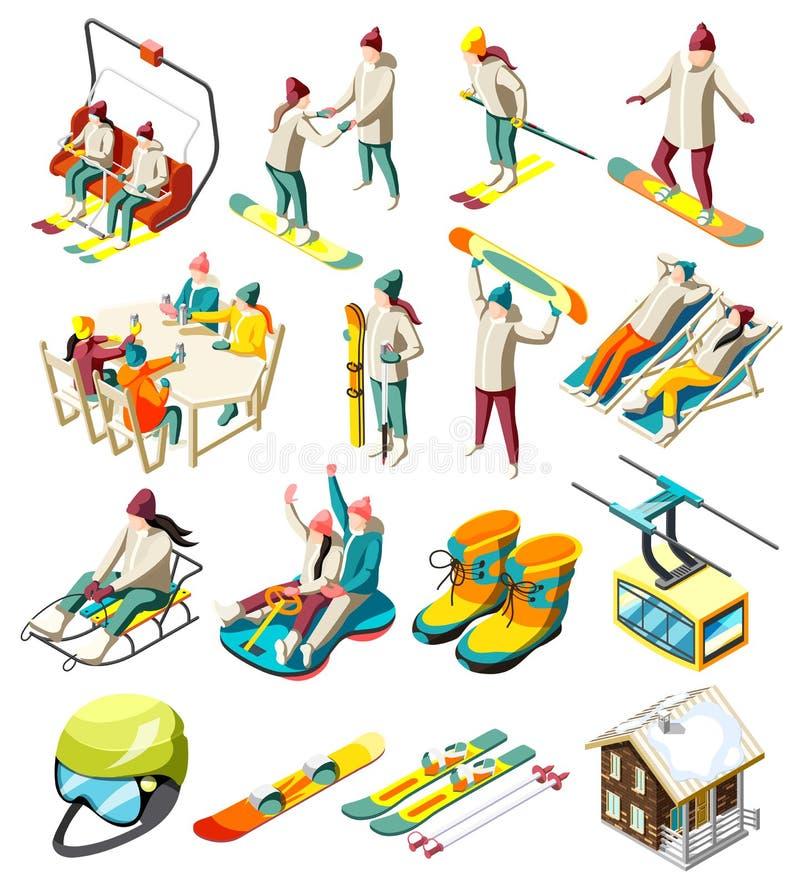 Ski Resort Isometric Icons royalty illustrazione gratis