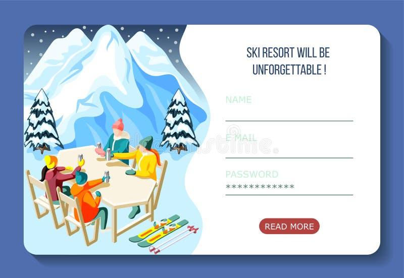 Ski Resort Isometric Landing Page royalty illustrazione gratis