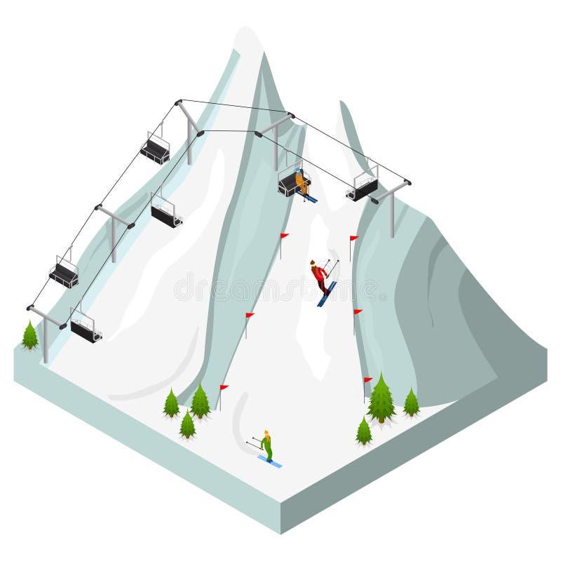 Ski Resort Isometric View Vettore illustrazione vettoriale