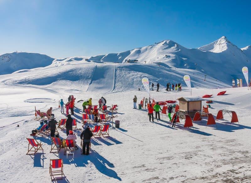 Ski resort Livigno. Italy. View of Ski resort Livigno. Italy royalty free stock images